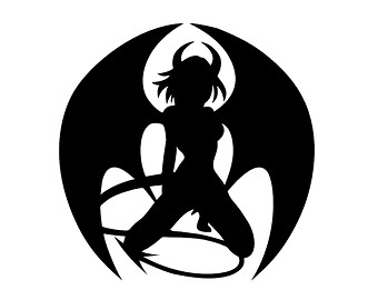 clipart black and white silhouette succubus #17