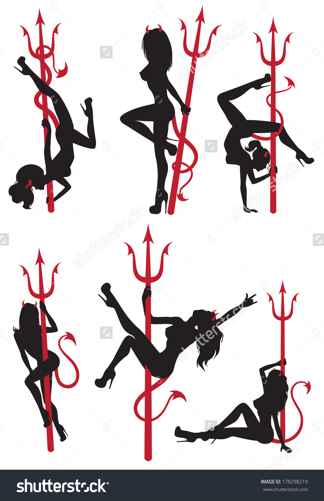 Collection Set Beautiful Sexy Pole Dance Stock Vector 178298219.