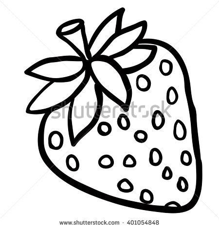 Black White Strawberry Cartoon Stock Illustration 401054848.