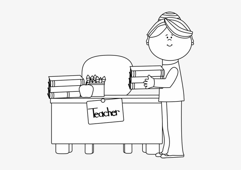 Teacher Desk Clipart Black And White Letters.
