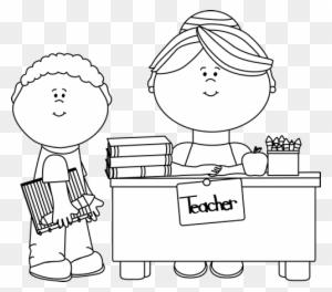 Black And White Boy Student At Teacher's #79421.