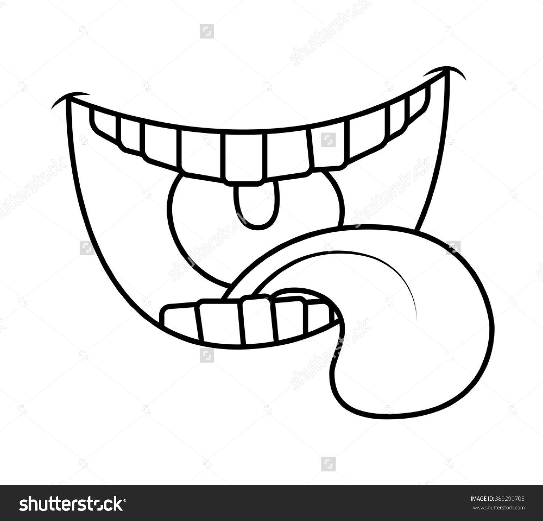 Cartoon Smile Mouth Lips Teeth Tongue Stock Vector 389299705.
