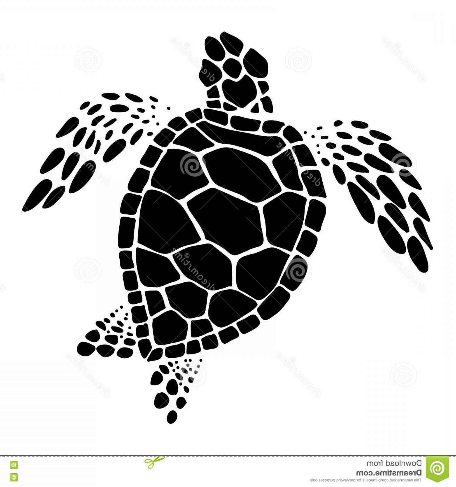 Stock Illustration Sea Turtle Vector Clip Art Black White Background.