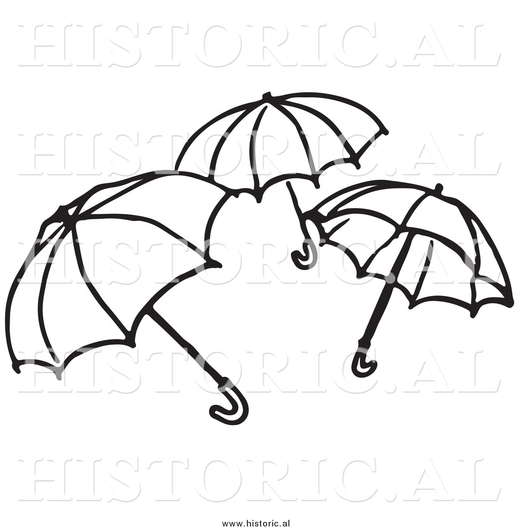 Clipart of Three Opened Umbrellas.