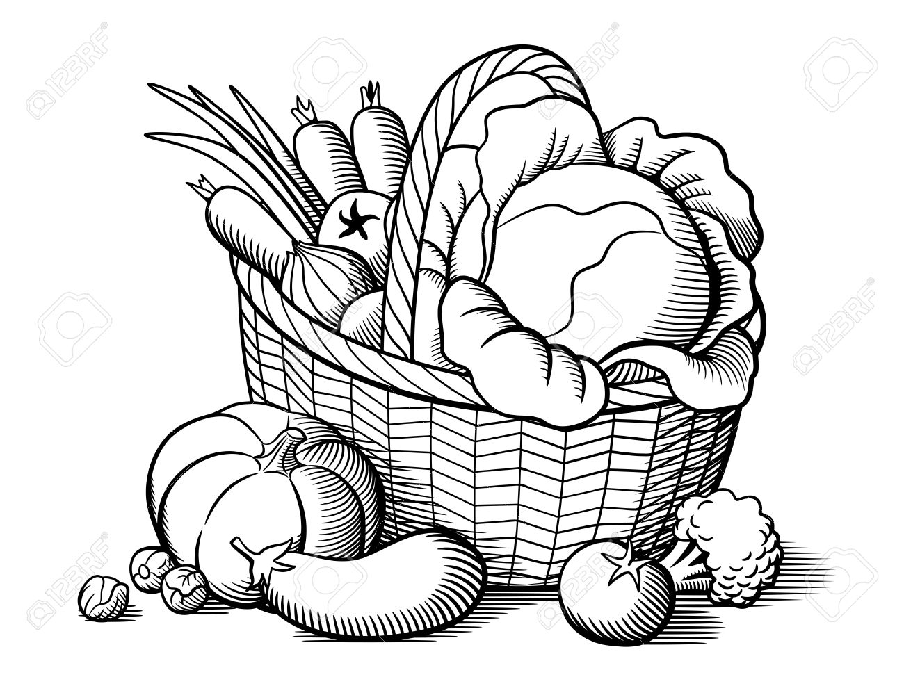 Basket with vegetables. Stylized black and white vector illustration.