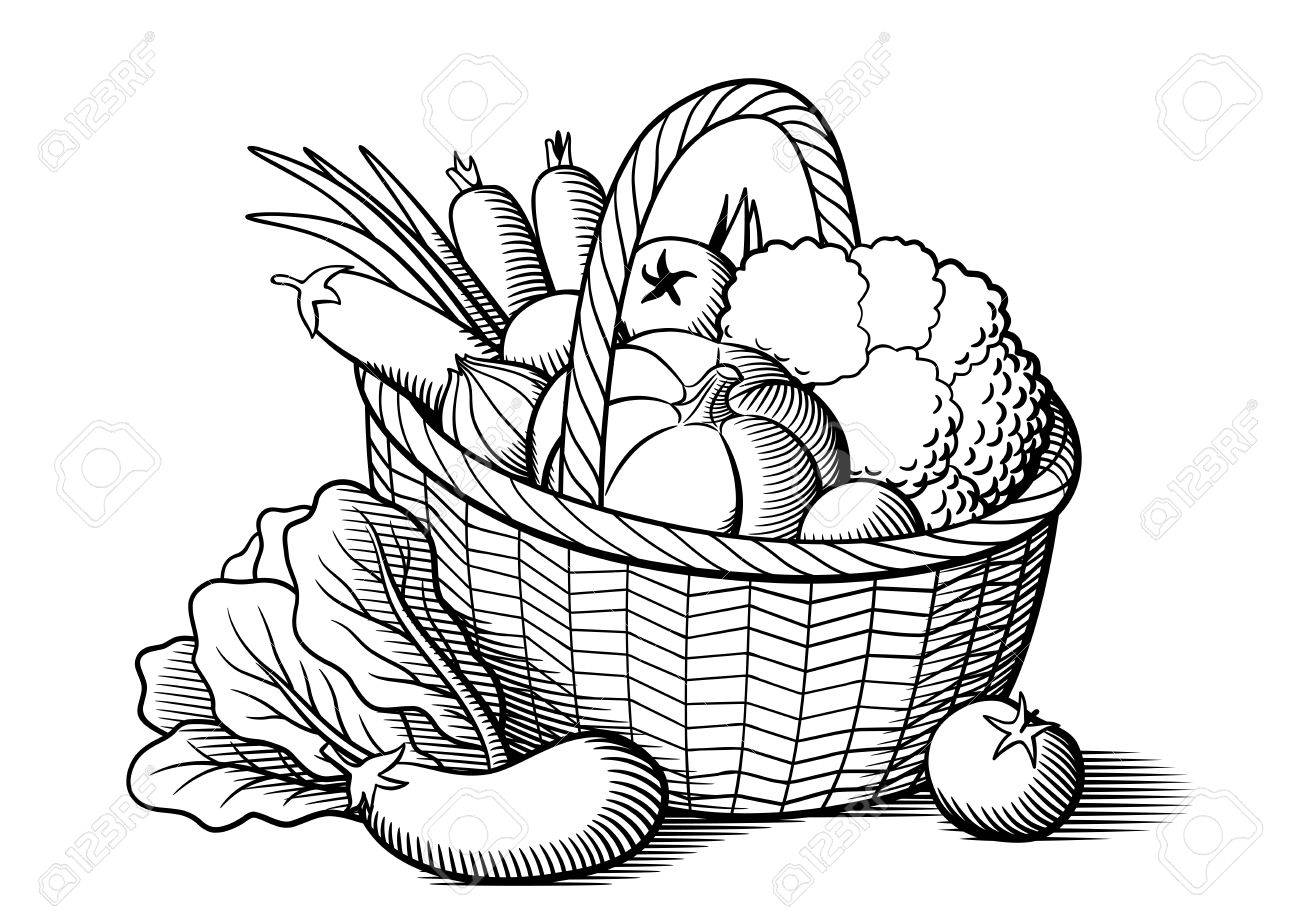 Vegetables in wicker basket. Stylized black and white vector...