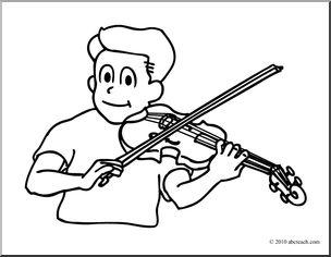 Violin black white clipart kid.