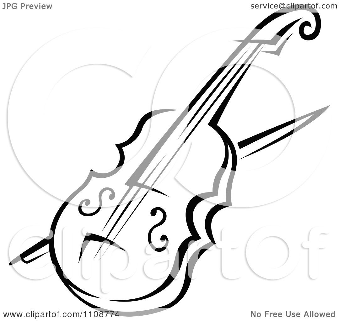 Clipart Black And White Violin Musical Instrument.