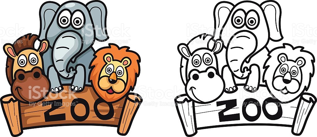 Colorful And Black And White Zoo For Coloring Book stock vector.