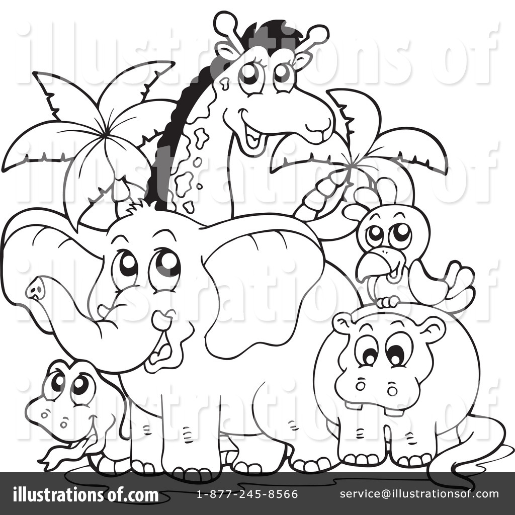 Zoo Animals Clipart Black And White.