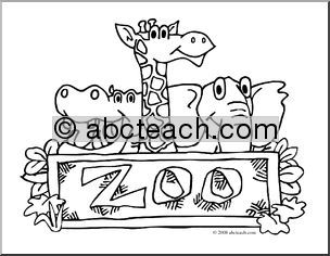 Black and White Zoo Clip Art.