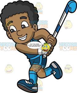 A Happy Black Boy Chasing After A Field Hockey Ball.