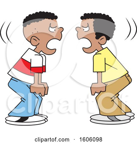 Clipart of Cartoon Black Boys Yelling at Each Other.