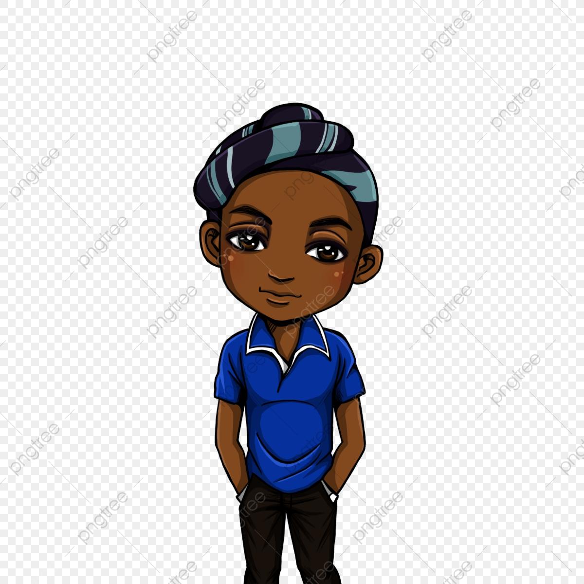 Chibi Black Boy, Chibi, Cartoon, Boy PNG Transparent Clipart Image.