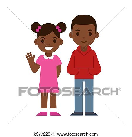 Black boy and girl Clipart.
