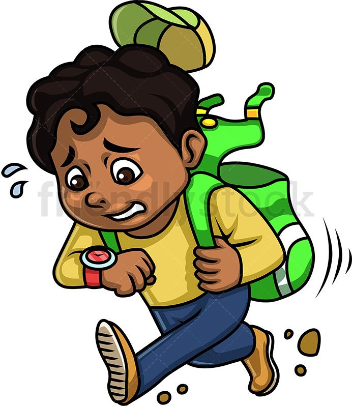 Black Boy Running Late For School.