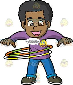 A Black Boy Spinning Two Hula Hoops.