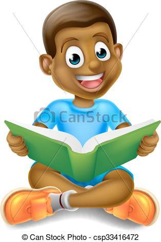 Cartoon Boy Reading Book.