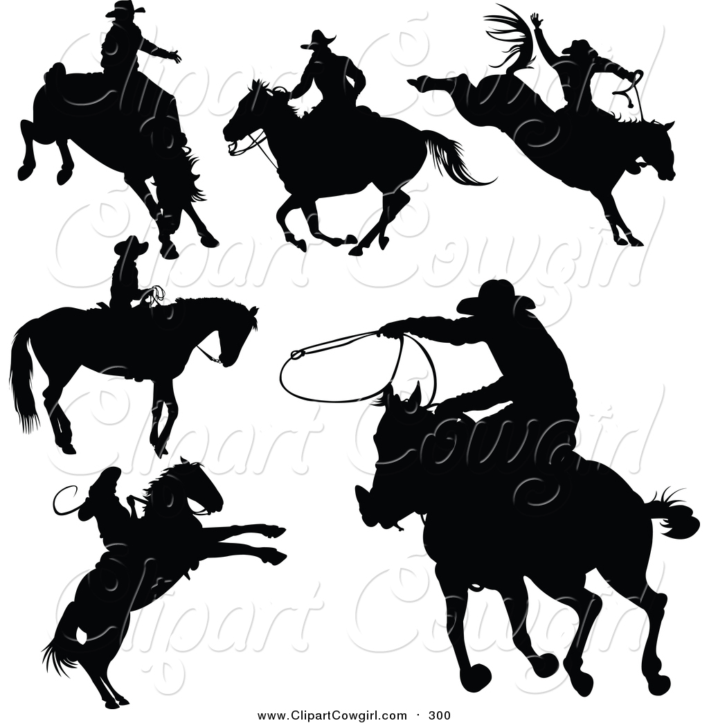 Clipart of a Black Cowboy Silhouettes by Pushkin.
