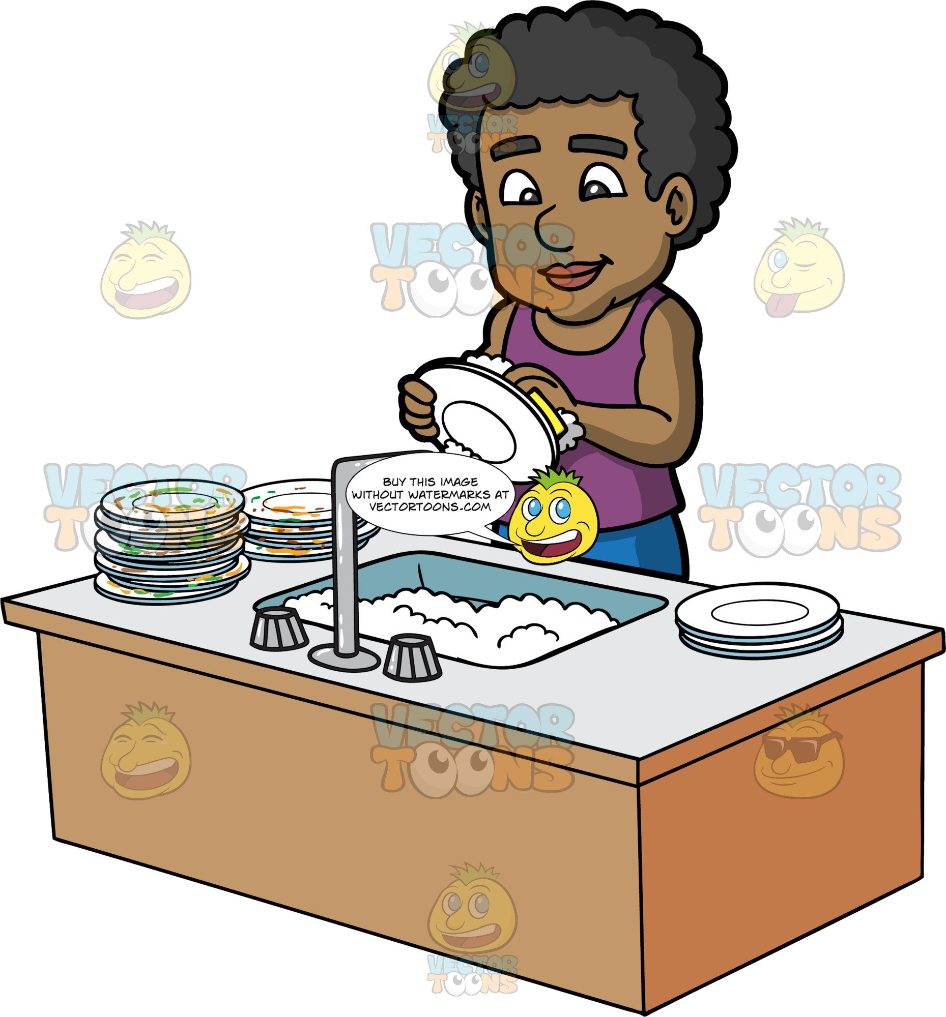 A Black Man Washing A Stack Of Dirty Dishes.