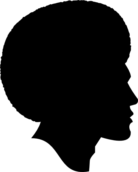 Clipart Black Side Face Afro Man Silhoutte.
