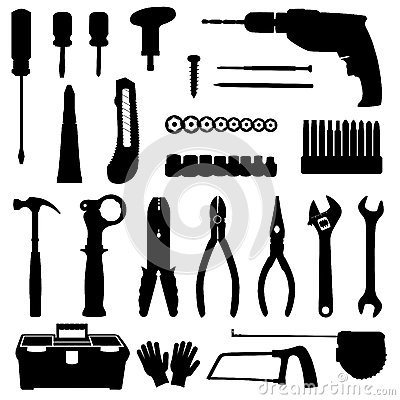 Construction Tools In Tool Box Black And White Vector Illustration.