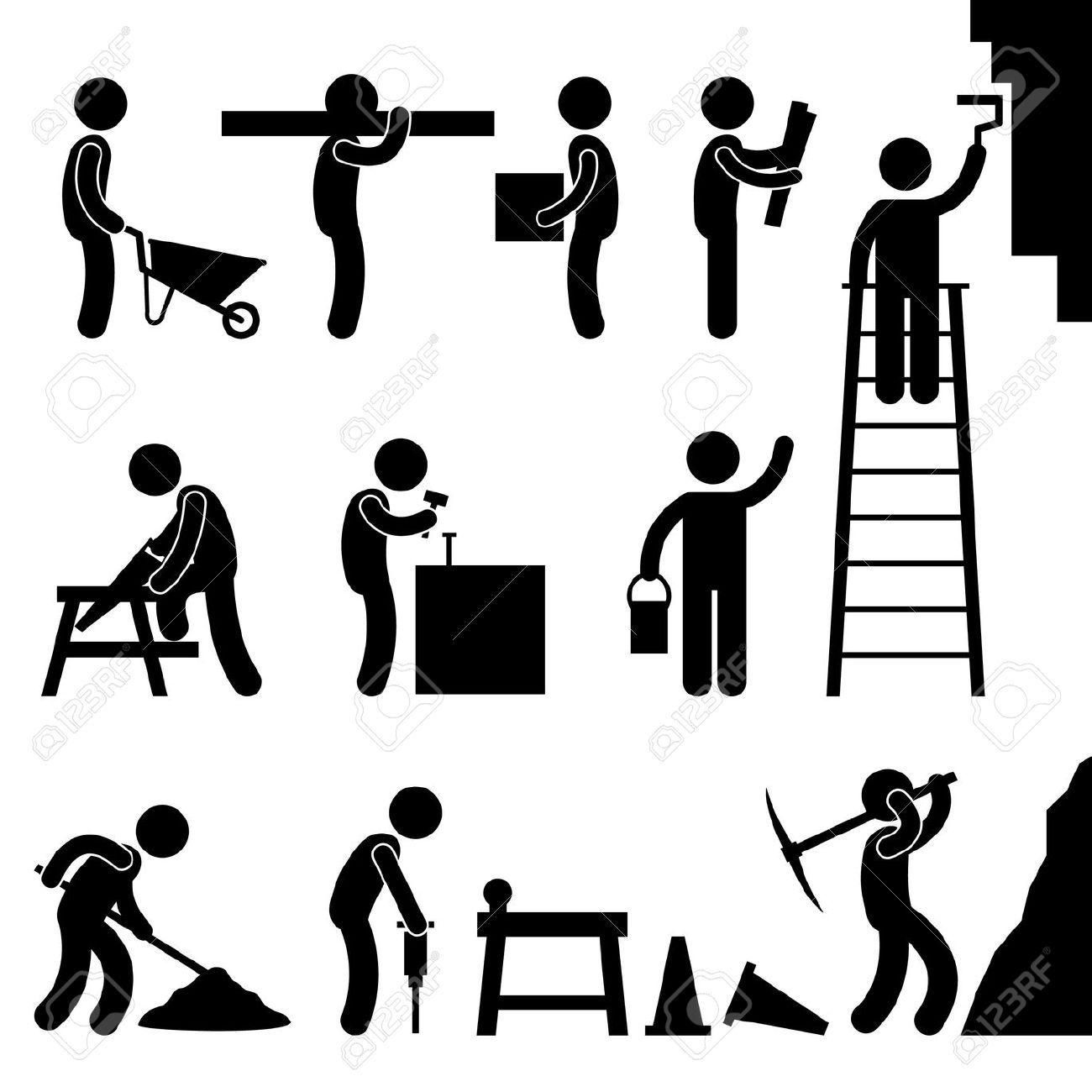 Man People Working Construction Carrying Building Industry.