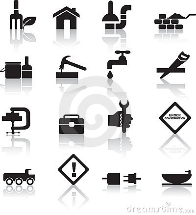 Construction And Diy Icon Set Royalty Free Stock Images.