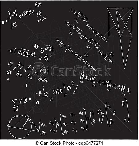 Vector Clip Art of close up of math formulas on blackboard.