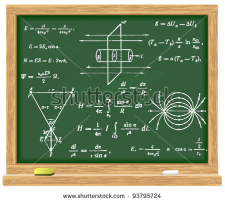Formulas Physics Written Chalk On Blackboard Stock Vector 93795724.