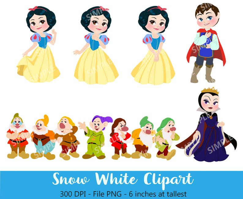 Neige blanche Digital, ClipArt blanc neige, Sleeping beauty ClipArt, sept  nains, Instant Télécharger, blanche.