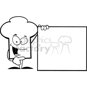 Cartoon Chefs Hat Character Presenting A Blank Sign clipart. Royalty.