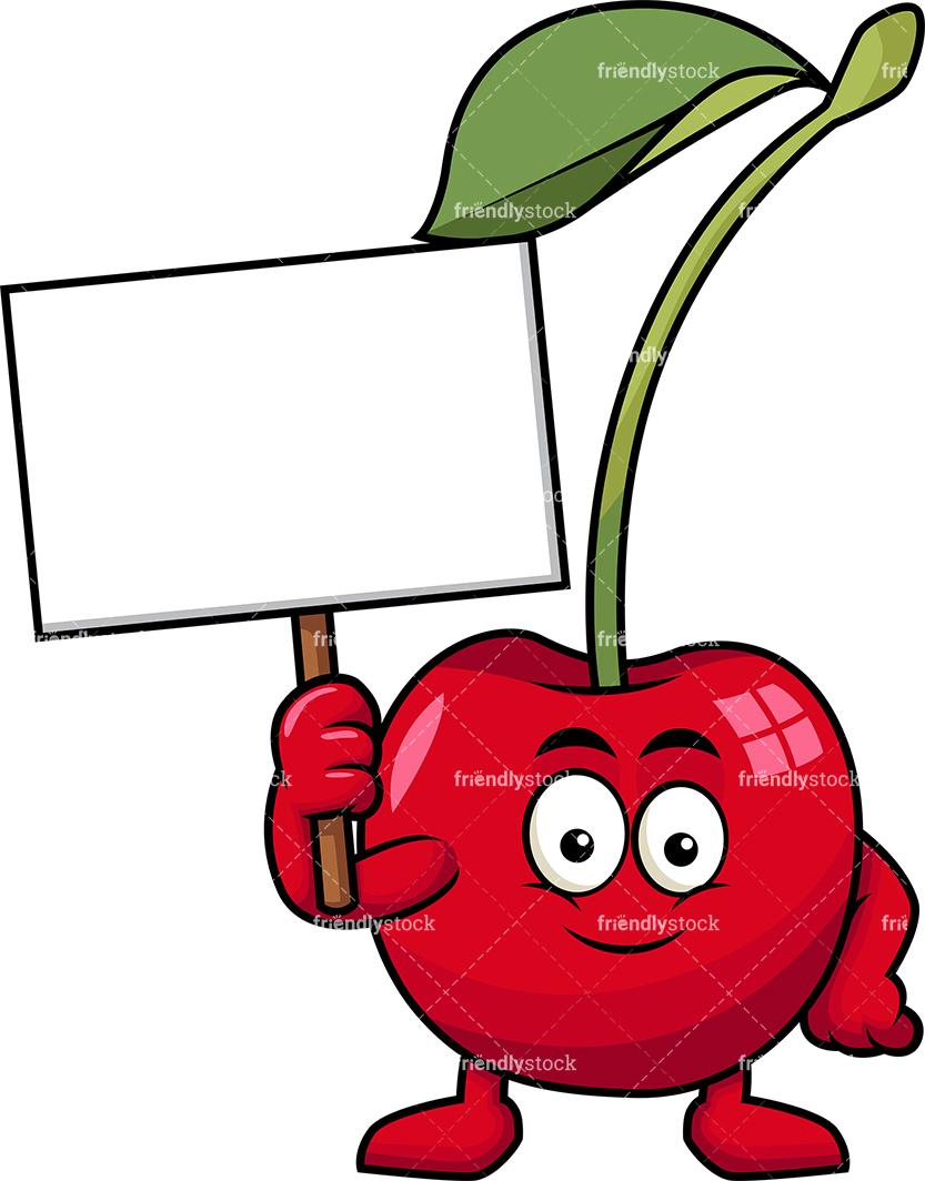Cherry Mascot Holding Empty Sign.