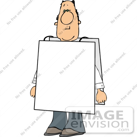 Middle Aged Caucasian Man Wearing a Blank Sign Clipart.