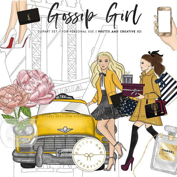 Gossip Girl Clipart, Gossip Girl, Blair and Serena, Waldorf.