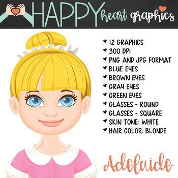 Student / Female / Girl / Blonde Hair / Clipart.