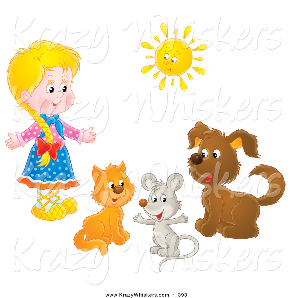 Critter Clipart of a Little Blonde Girl with a Cat, Mouse and Dog.