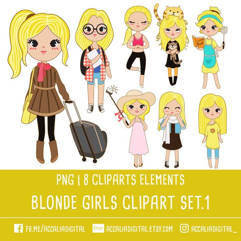 30% OFF Blonde girl clip art set 1, Blonde girl illustration, cute girl  cartoon, beautiful girl sticker, digital clipart, PNG file 300 dpi.