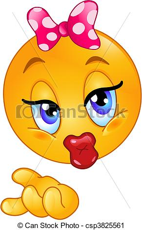 Vector Clip Art of Kiss emoticon.