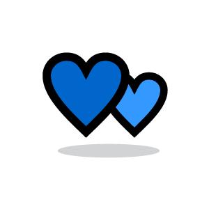 Vintage Blue Heart Clipart.