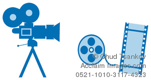 Clipart Image of A Video Camera With Film and a Film Reel.