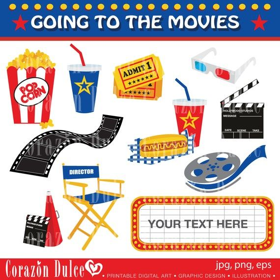 INSTANT DOWNLOAD Going to the Movies Digital Clipart Set.