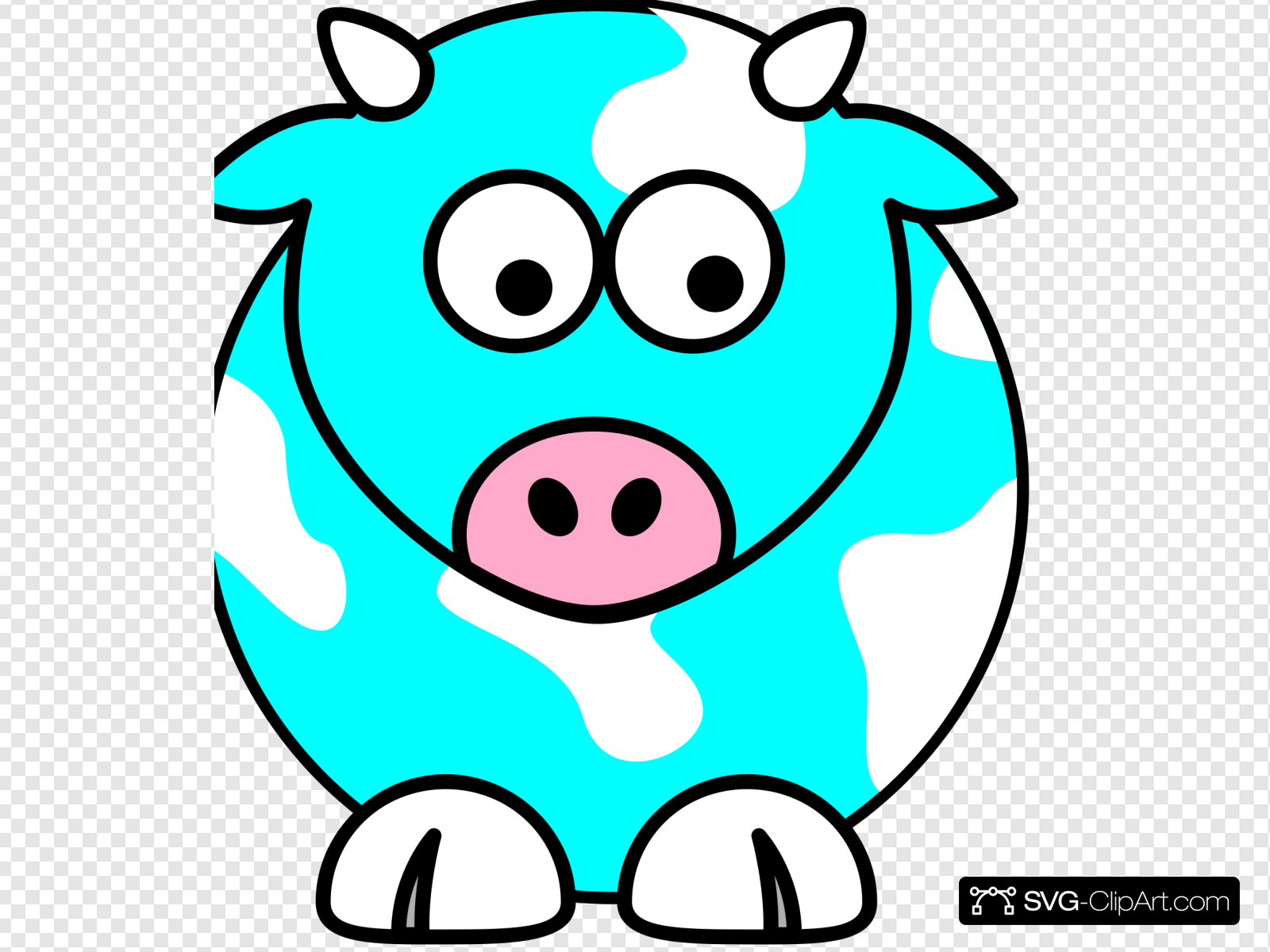 Blue Cow Clip art, Icon and SVG.