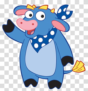 Dora The Explorer, blue cow cartoon character illustration.