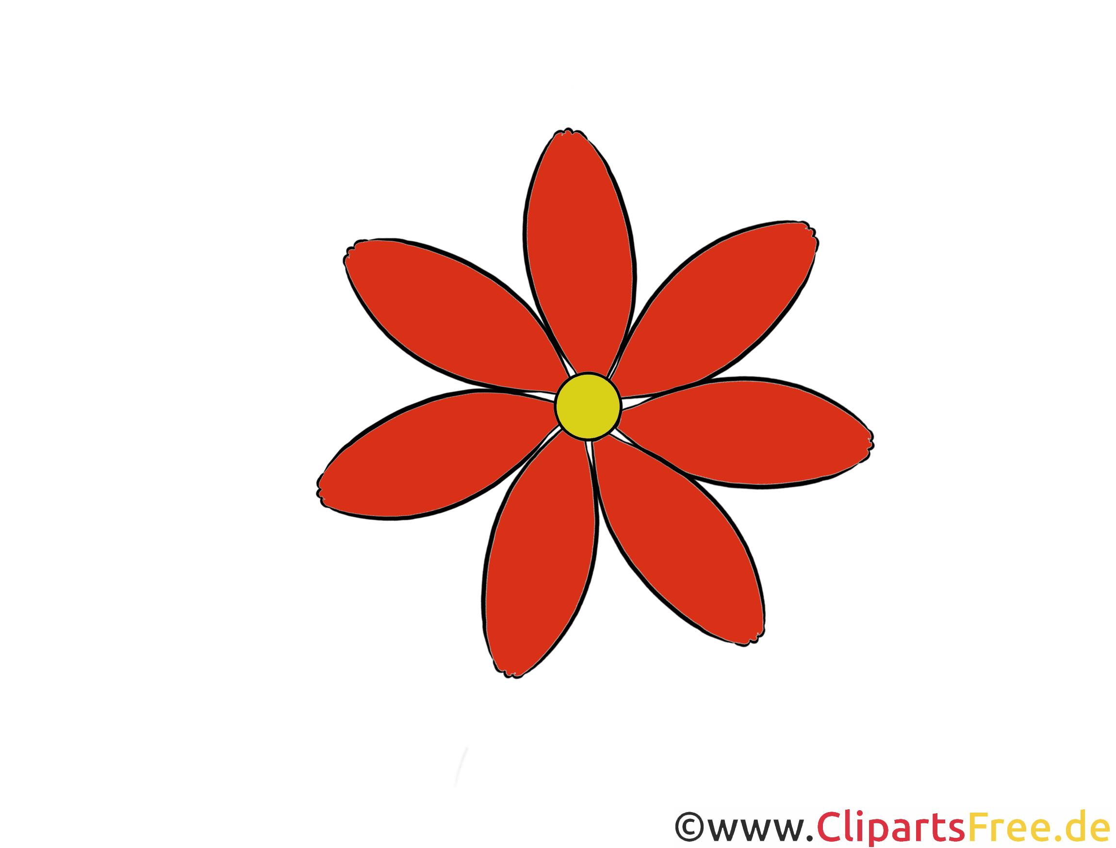 Rote Blume Clipart, Illustration, Bild kostenlos.