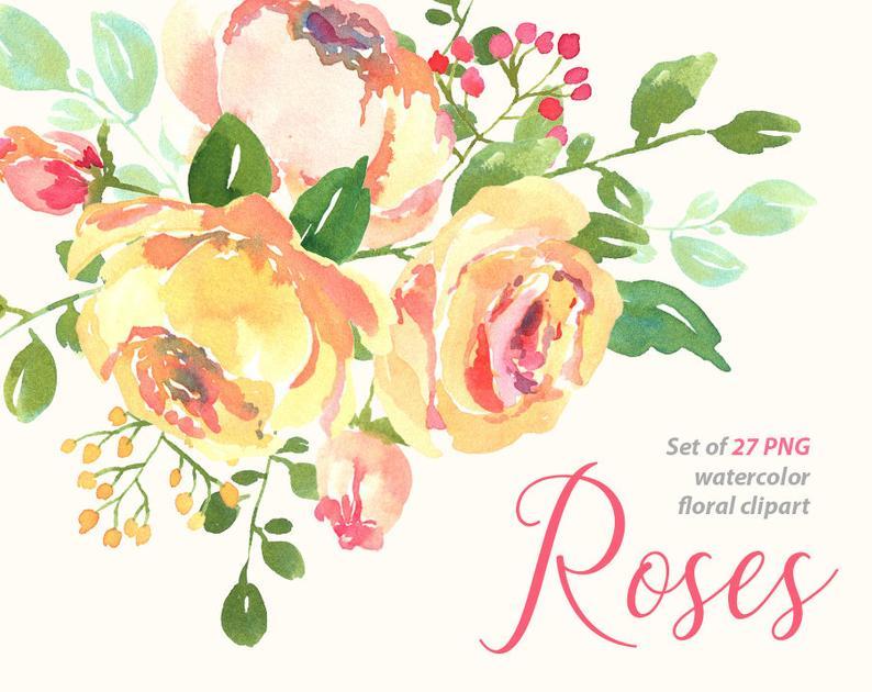 Aquarell Blumen, Blätter, Zweige, digitale Clip Kunst helle Aquarell  Hochzeit rosa gelbe Rosen Clipart kostenlos kommerzielle Nutzung PNG.