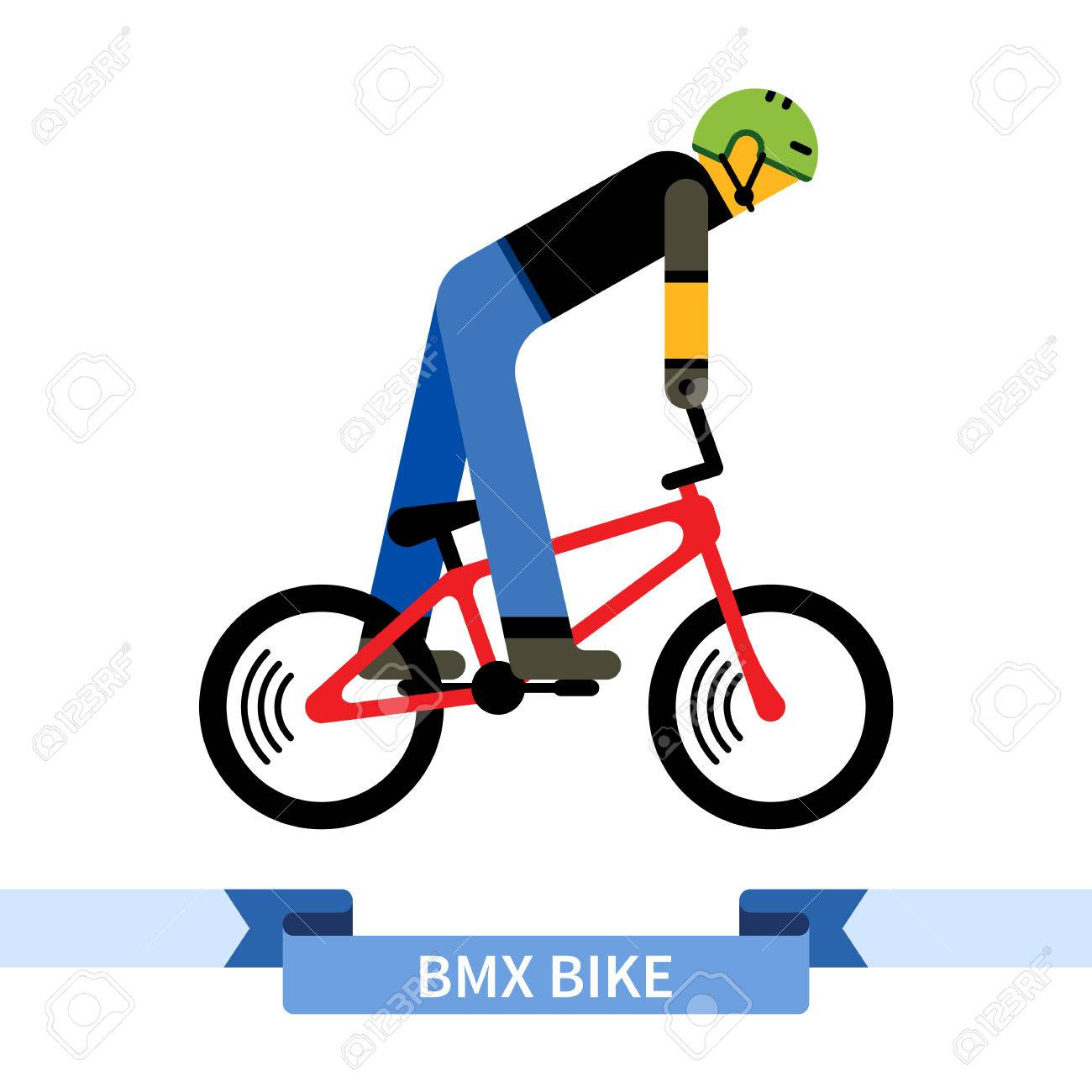 Bicyclist on bmx bike. Simple side view clipart drawing in flat...
