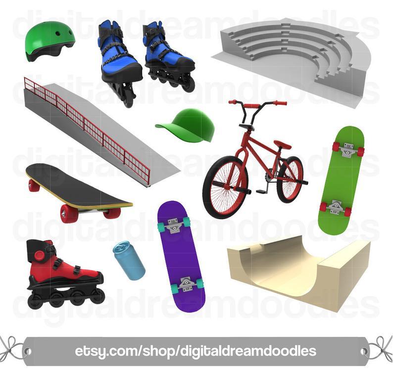 Skateboard Clipart, BMX Bike Clipart, Rollerblades Clipart, Extreme Sports  Image, Skate Ramp Graphic, Grind Rail Scrapbook, Digital Download.