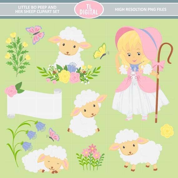 Little Bo Peep and Her Sheep Clipart Set.