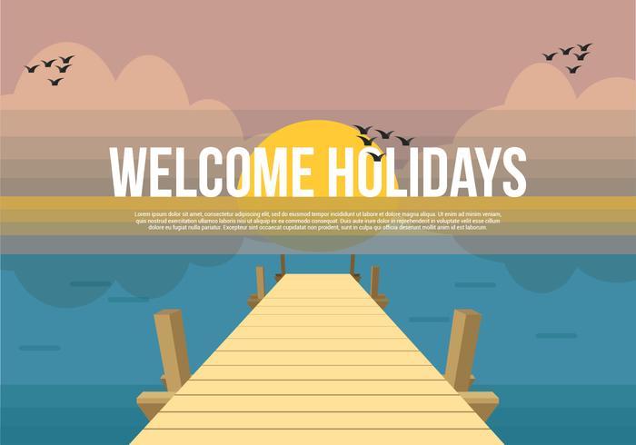 Boardwalk Vector Background Illustration.